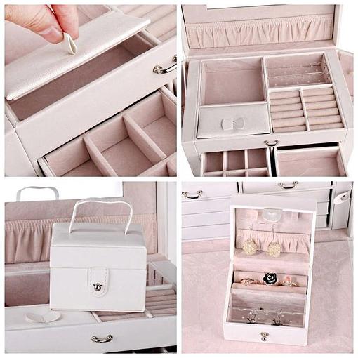 Collage de 4 photos présentant des détails de la boîte à bijoux en cuir blanc à compartiments