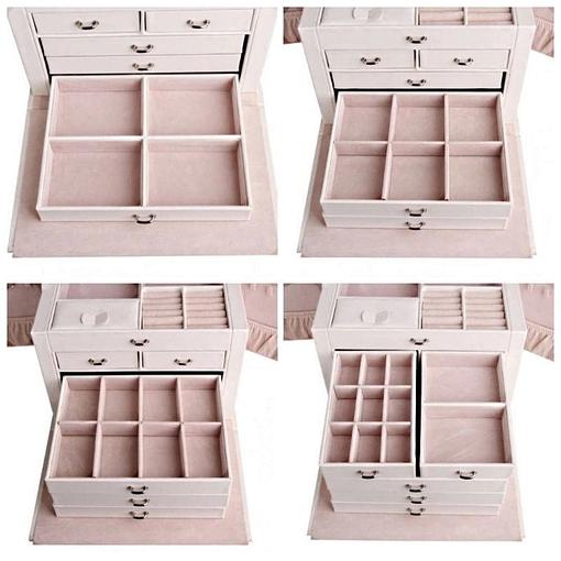 Collage de 4 photos présentant des tiroirs de la boîte à bijoux en cuir blanc à compartiments