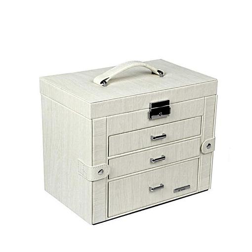 Vue de 3/4 de la boîte à bijoux en cuir blanc avec écrin