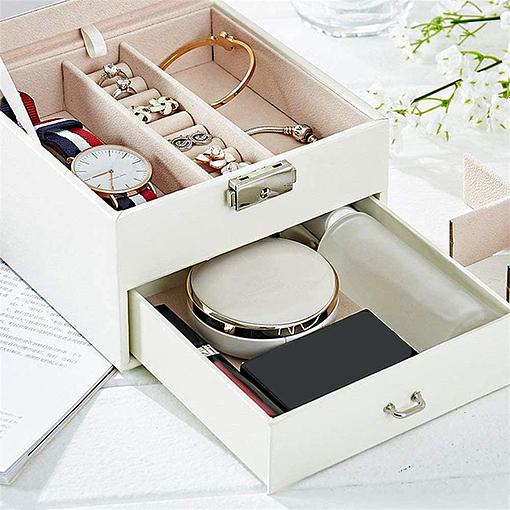 Tiroir et plateau de la boîte à bijoux en cuir blanc petit modèle