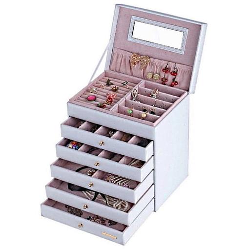 Vue de 3/4 de la boîte à bijoux en cuir à 5 tiroirs blanc (ouverte, avec bijoux)