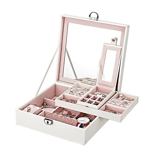 Vue de 3/4 de la boîte à bijoux simili cuir blanc ouverte (plateau et boîte supérieurs déposés)
