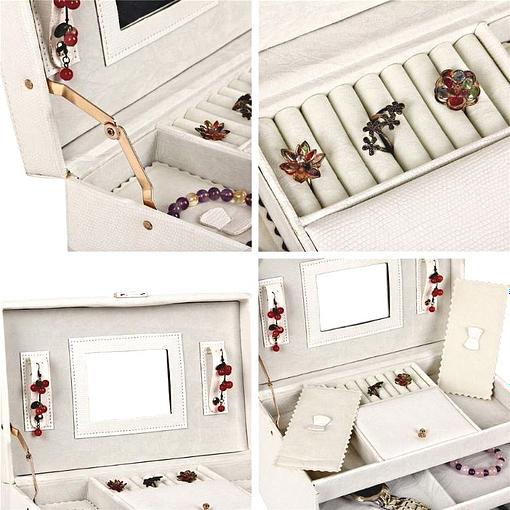 Collage de 4 photos montrant les détails de la boîte à bijoux en cuir à 4 tiroirs blanc