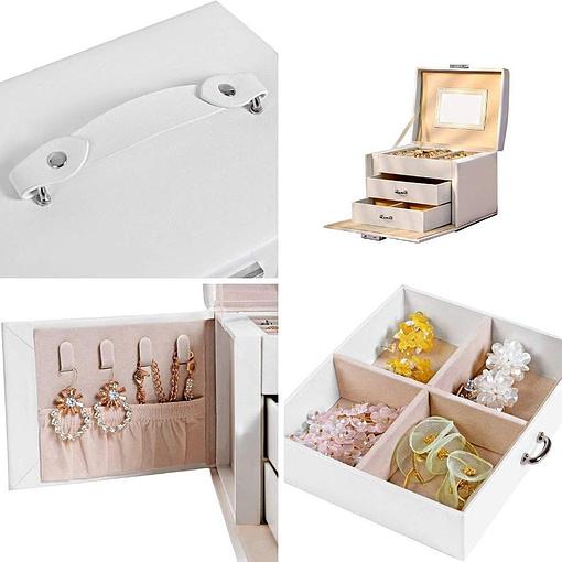 Collage de 4 photos de détails de la boîte à bijoux en cuir blanc à 2 tiroirs et portes