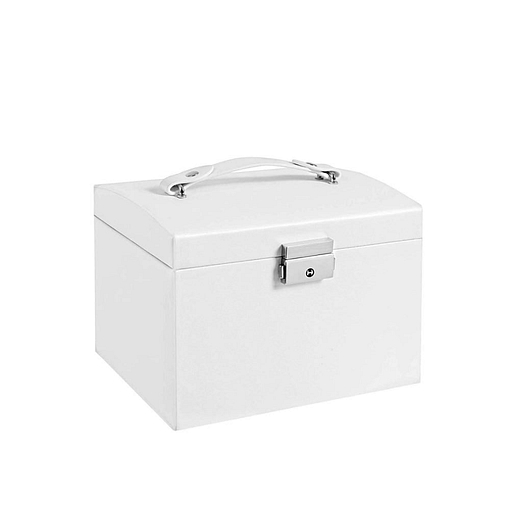 Vue de 3/4 de la boîte à bijoux en cuir blanc à 2 tiroirs et portes (fermée)