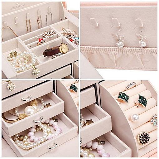 Collage de 4 photos de détails de la boîte à bijoux en cuir blanc 3 tiroirs et porte-bagues