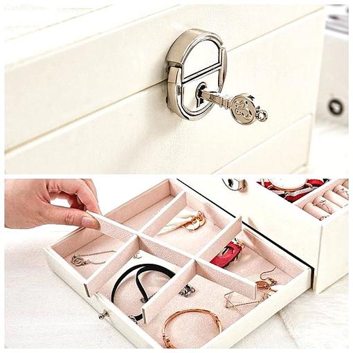 Collage de 2 photos montrant la serrure et le compartiment inférieur de la boîte à bijoux en cuir à losanges blanc