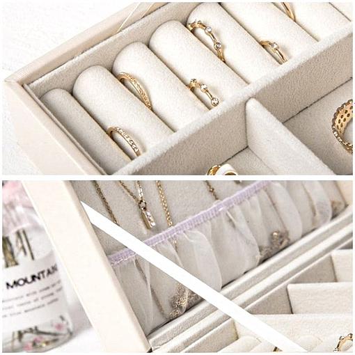 détails (porte-bagues et couvercle) de la boîte à bijoux femme cuir blanc