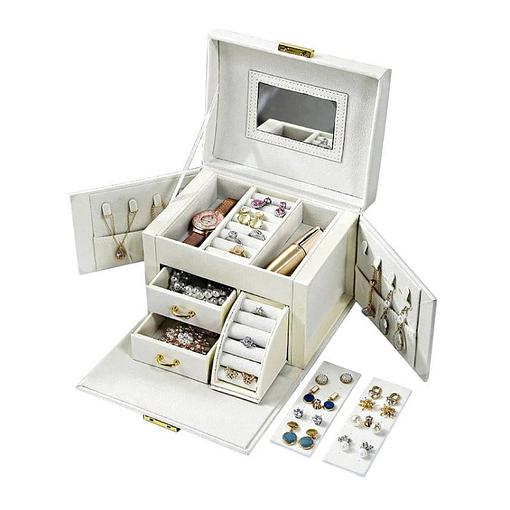 Boîte à bijoux en cuir blanc '2 tiroirs et porte-bagues' (présentée ouverte, avec bijoux et plateaux déposés)