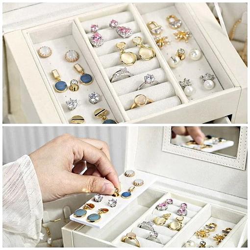 Plateau supérieur de la boîte à bijoux en cuir blanc '2 tiroirs et porte-bagues' (pour boucles et bagues)