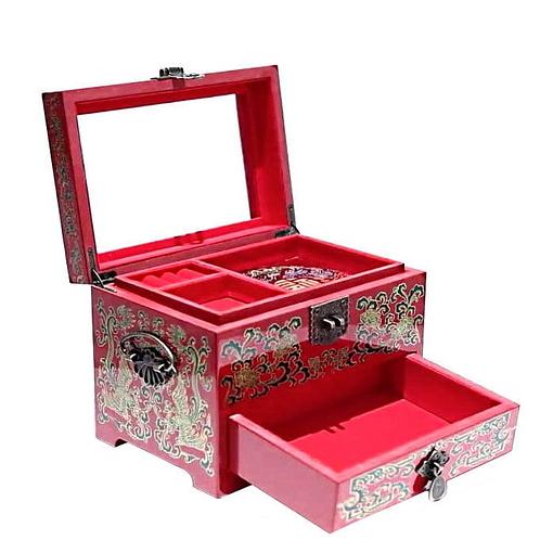 Vue de 3/4 de la boîte à bijoux originale 'canards mandarins' (ouverte)