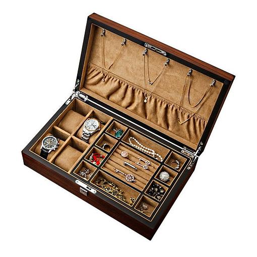 Vue de 3/4 de la boîte à bijoux plateau et montres (ouverte, avec bijoux)