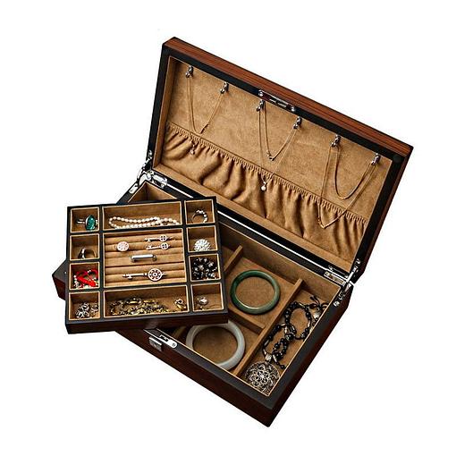 Vue de 3/4 de la boîte à bijoux plateau et montres (ouverte, avec bijoux et plateau soulevé)
