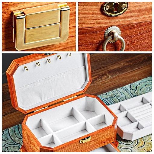 Collage de 3 photos présentant les détails de la boîte à bijoux en bois 'émeraude' avec compartiments
