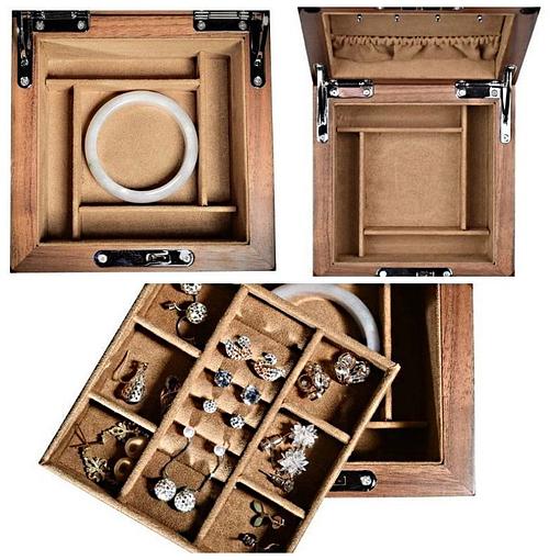 Compartiments de la boîte à bijoux en bois 'grand cube'