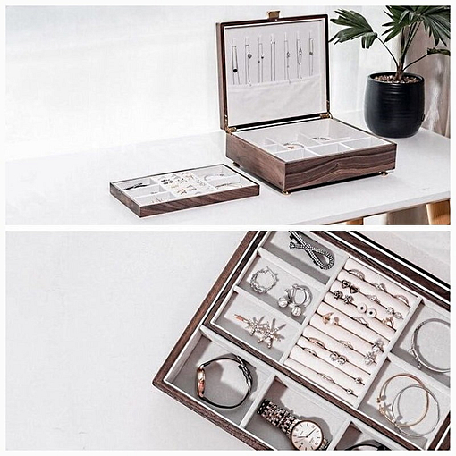 Collage de 2 photos de détails de la boîte à bijoux en bois de noyer (compartiments)