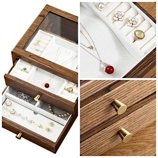 Compartiments de la boîte à bijoux bois présentoir