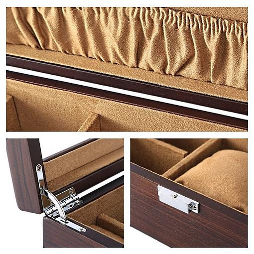 Collage de 3 photos des détails Vue de 3/4 de la boîte à bijoux en rectangulaire (ouverte)