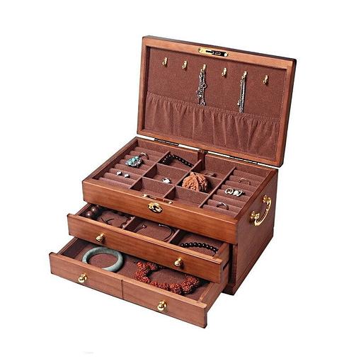 Vue de 3/4 de la boîte à bijoux en bois des artisans (ouverte)