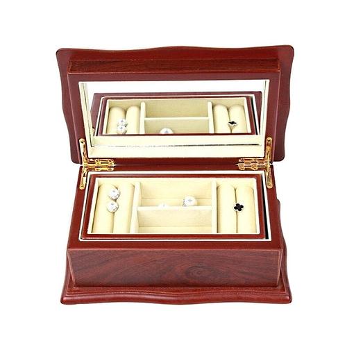 Vue de face de la boîte à bijoux en bois 'petit sarcophage' (ouverte)