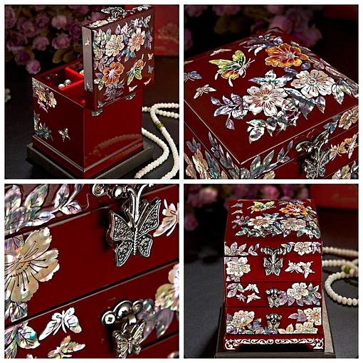 Collage de 4 photos présentant les détails de la boîte à bijoux originale 'petite tour'
