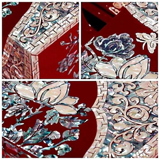 Détails de la boîte à bijoux originale '2 cubes rouges'