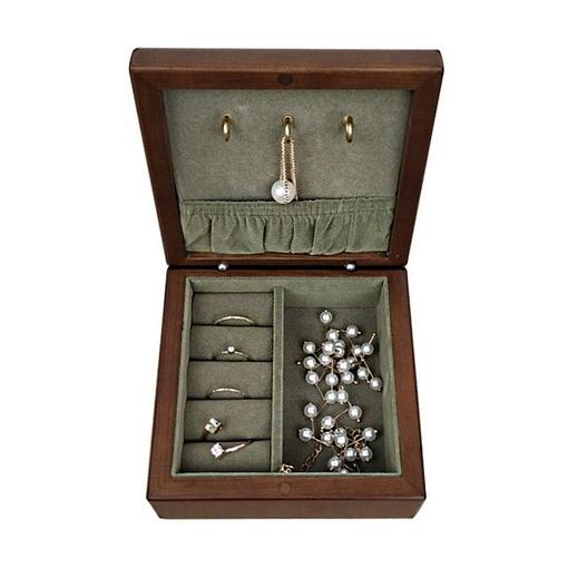 Petite boîte à bijoux en bois carrée (ouverte, vue de face)
