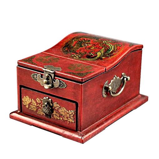 Vue de 3/4 de la boîte à bijoux originale à miroir dépliant