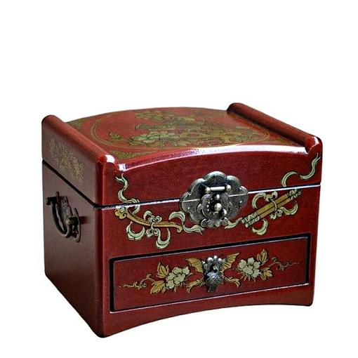 Vue de 3/4 de la boîte à bijoux originale à tiroir (fermée)
