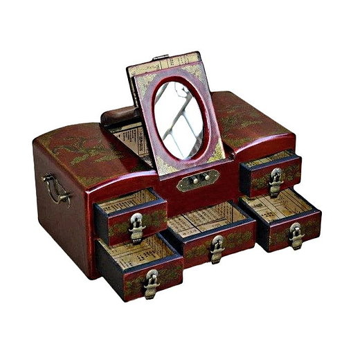 Vue de 3/4 de la boîte à bijoux originale 'commode' (ouverte)