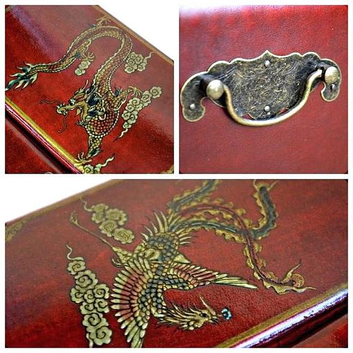 Collage de 3 photos de détails de la boîte à bijoux originale 'commode'