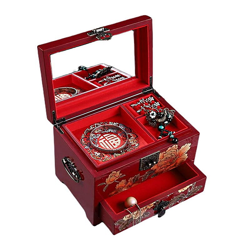 Vue de 3/4 de la boîte à bijoux originale 'pivoines dorées' (ouverte, avec bijoux)