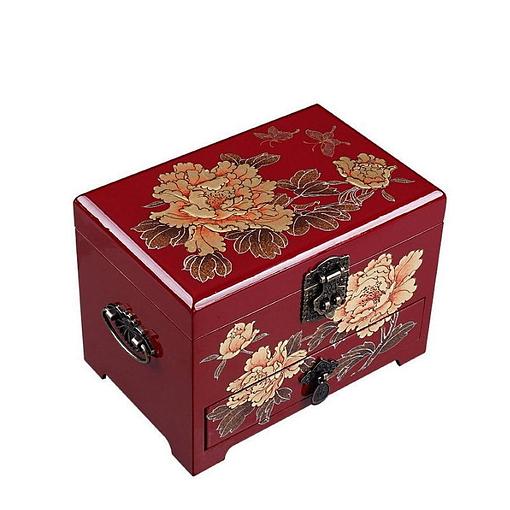 Vue de 3/4 de la boîte à bijoux originale 'pivoines dorées' (fermée)