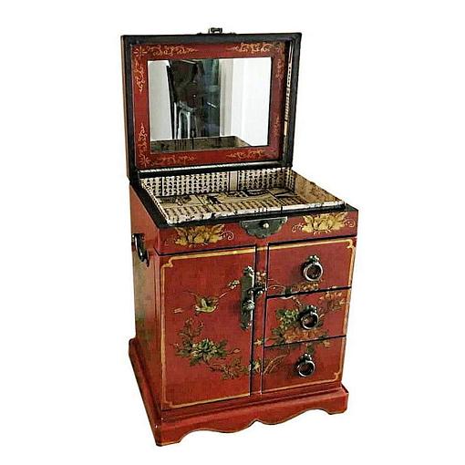 Vue de 3/4 de la boîte à bijoux originale porte et tiroirs (ouverte)