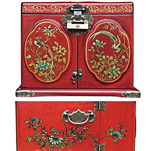Vue de 3/4 de la boîte à bijoux originale rouge rectangulaire (dessin des panneaux)