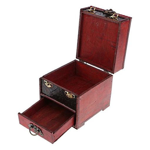 Vue de 3/4 du coffret à bijoux original rouge (ouverte)