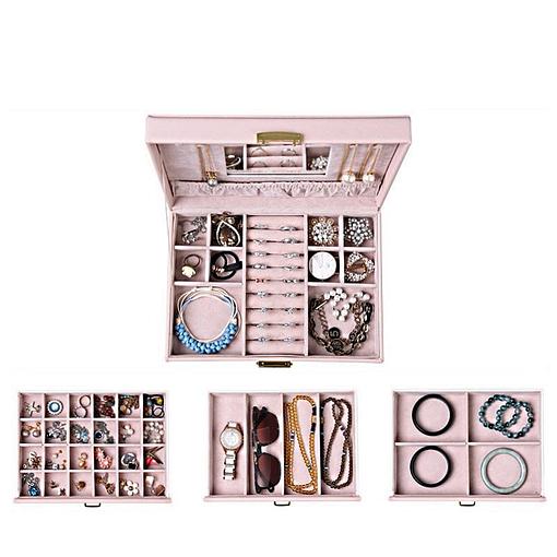 Vue aérienne des tiroirs et du plateau supérieur de la grande boîte à bijoux en cuir rose à 3 tiroirs