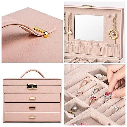 Collage de 4 photos présentant les détails de la grande boîte à bijoux en cuir rose à 3 tiroirs