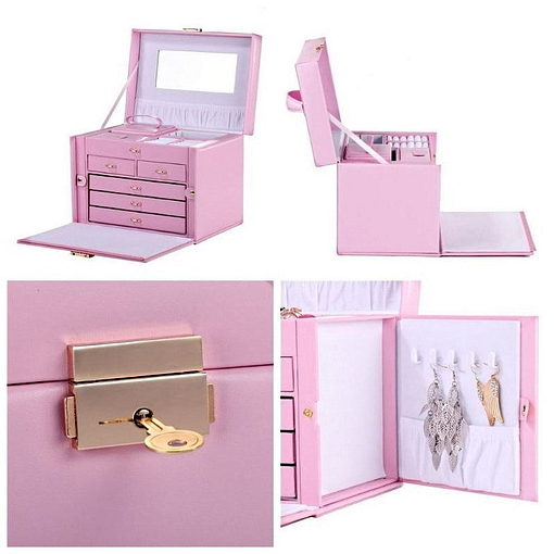 Collage de 4 photos présentant des détails de la grande boîte à bijoux en cuir rose à compartiments (porte latérale, fermoir...)