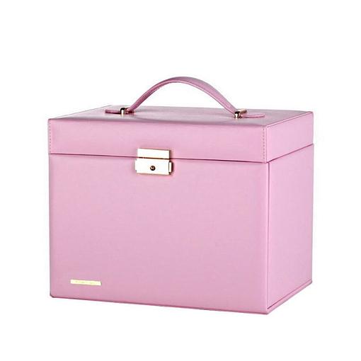 Vue de 3/4 de la grande boîte à bijoux en cuir rose à compartiments (fermée)