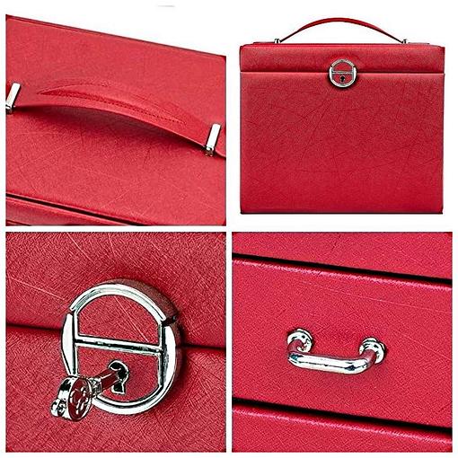Collage de 4 photos présentant les détails extérieurs de la grande boîte à bijoux en cuir rouge à portes (poignées, fermoir...)