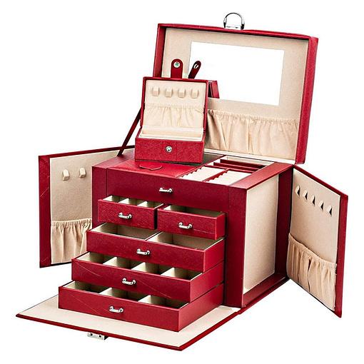 Vue de 3/4 de la grande boîte à bijoux en cuir rouge à portes (ouverte)