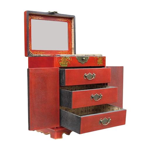 Vue de 3/4 de l'armoire à bijoux originale (ouverte)