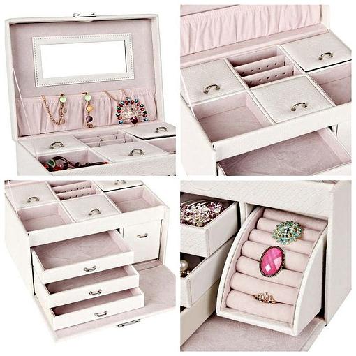 Collage de 4 photos de détails de la boîte à bijoux en cuir blanc 3 tiroirs et étui (autres rangements)