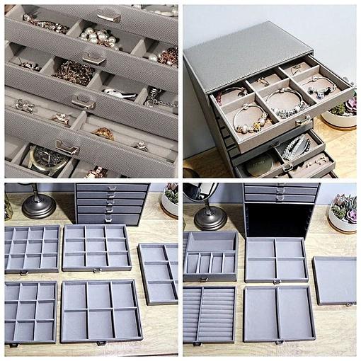 Collage de 4 photos de présentation des compartiments de la grande boîte à bijoux en cuir à 10 tiroirs gris