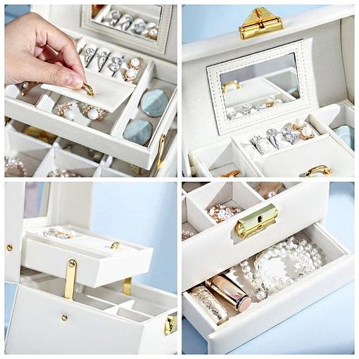 Collage de 4 photos des compartiments de la boîte à bijoux en cuir blanc de voyage