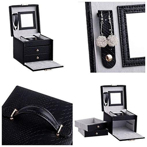 Collage de 4 photos de détails de la boîte à bijoux en cuir à double tiroirs