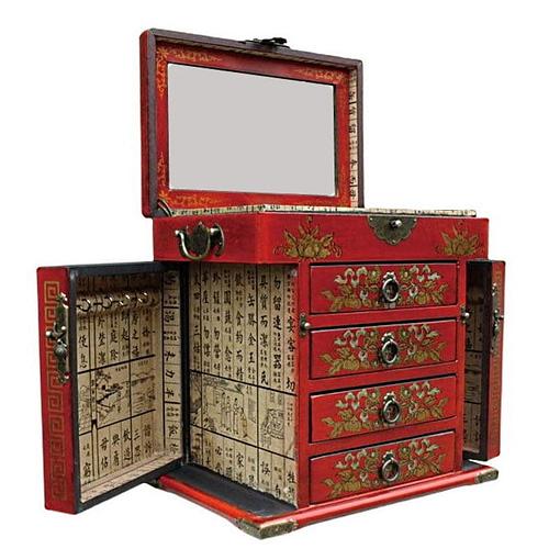 Vue de 3/4 de la boîte à bijoux originale rouge à 4 tiroirs (ouverte)