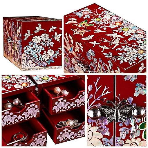 Collage de 4 photos présentant les détails de la boîte à bijoux originale rouge papillons et mésanges (couvercle, fermoir...)