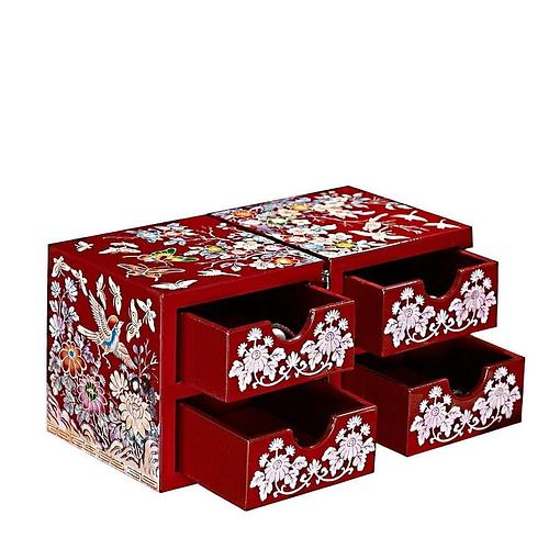 Vue de 3/4 de la boîte à bijoux originale rouge papillons et mésanges (ouverte)